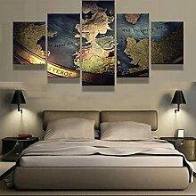45Tdfc 5 Parties Impression Toile Murale Carte du