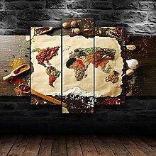 45Tdfc Decoration Murale 5 Parties Carte du Monde