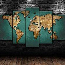 45Tdfc Impression sur Toile Carte du Monde Global