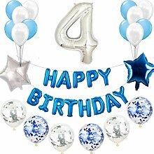 4e anniversaire décoration bleu argent ensemble
