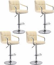 4pcs Blanc Tabourets de Bar Chaise Fauteuil en