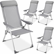 4x Chaises de jardin pliante aluminium 60 x109 cm