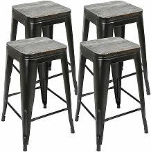 4x tabouret avec siège en bois, tabouret en