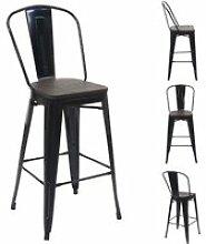 4x tabouret de bar hwc-a73 avec siège en bois,