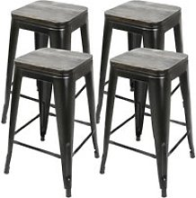 4x tabouret de bar industriel hombuy avec siège