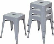4x tabouret hwc-a73 en métal, design industriel,