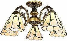 5 Lumière Lustres Tiffany Style Ombre De Verre