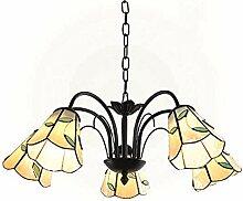 5 Lumières Lustre Tiffany Style Pétrole Frotté