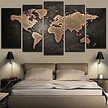 5 Panneau Mural Art Peinture Carte Du Monde
