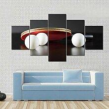 5 Panneau Mural Art Peinture Raquette Tennis Table