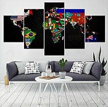 5 pièces HD Imprimer Affiche murale Carte du