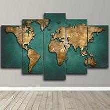 5 Pieces Toile Tableau Carte du Monde Global 5
