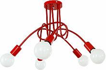 5 Tête Plafonnier Lustre Vintage LED Lampe de