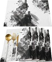 585 Napperons De Cuisine Lot De 4 Artistique Encre