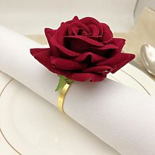 6 anneaux de serviette en forme de Rose rouge,