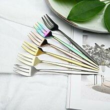 6 fourchettes en or, service de table en acier