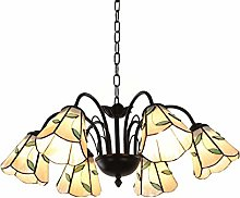 6 Lumières Lustre Tiffany Style Pétrole Frotté