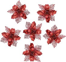 6 Pcs Glitter Artificielle Mariage Fleurs De Noël