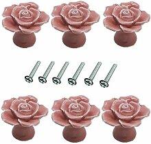 6 Pièces Fleur Rose Forme 40mm Céramique