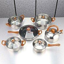6 pièces marmite à soupe en acier inoxydable