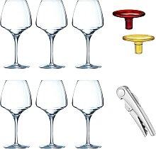 6 verres à pied, sommelier et bouchons en verre