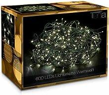 600 LED Guirlande Lumineuse Blanc Chaud 50m + 10m