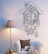 63x97cm conte de fées coucou montre mur vinyle