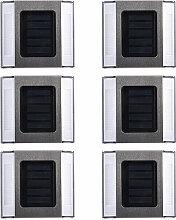 6Pcs eclairage Solaire D'Escalier 2 Led, Blanc