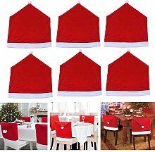 6x Housse de Chaise Rouge Pr Décoration Noel