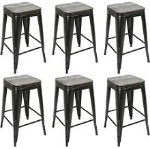 6x tabouret de bar industriel hombuy  avec siège
