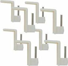 8 crochets adhésifs blancs pour tringles à
