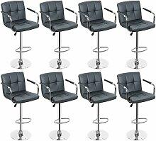 8 Pcs Tabouret de bar gris Chaise avec accoudoirs