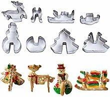 8 pièces 3D cookie cutter Noël ensemble en acier
