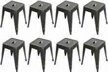 8 x tabourets bas hombuy en fer métallique noir