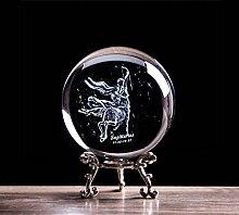 80 MM 3D 12 Zodiac Étoile Cristal Boule Laser