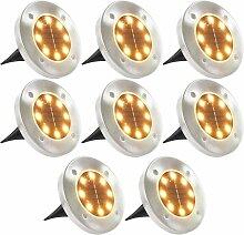 8x Lampe Solaire de Sol Lumière LED Blanc Chaud