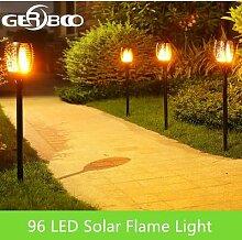 96 LED s solaire flamme clignotant lampe de jardin