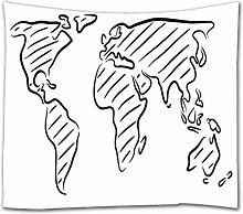 A.Monamour Tapisserie Murale Carte du Monde