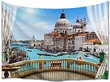 A.Monamour Tapisserie Murales Balcon 3D Vue sur Le