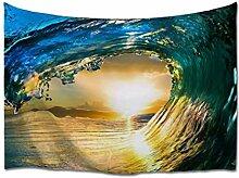 A.Monamour Tapisserie Murales Océan Surf Coloré