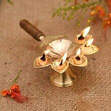 Aarti Lampe à huile en laiton Jyoti Puja Panch