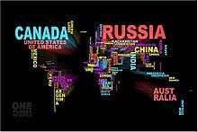 Abaabul Carte du monde Affiche Art mural Toile