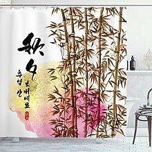 ABAKUHAUS Bambou Rideau de Douche, Japanese Asian