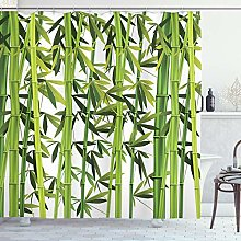 ABAKUHAUS Bambou Rideau de Douche, Plantes Vertes