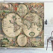 ABAKUHAUS Carte du Monde Rideau de Douche, Art
