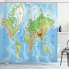 ABAKUHAUS Carte du Monde Rideau de Douche, Carte