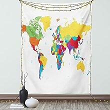 ABAKUHAUS Carte du Monde Tapisserie, Les Pays et