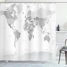 ABAKUHAUS Gris Rideau de Douche, Carte du Monde