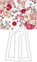 Abat-jour blanc imprimé rouge d 80 cm