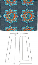 Abat-jour bleu imprimé orange d 35 cm